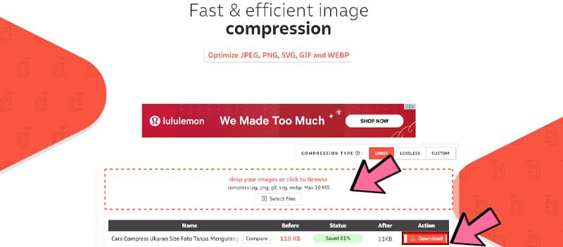 Compression.io untuk compress image tanpa mengurangi kualitas gambar