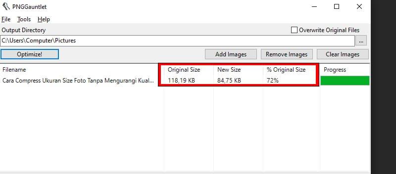 Hasil Optimasi Foto Agar Size gambar menjadi kecil