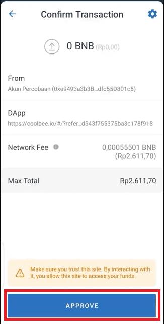 Approve Fee Transaksi