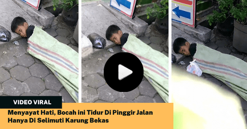 Menyayat Hati, Bocah ini Tidur Di Pinggir Jalan Hanya Di Selimuti Karung Bekas